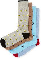 Neiman Marcus 4-Pair Martini Socks Gift Box
