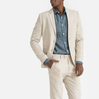 La Redoute Collections Linen Fitted Suit Jacket with Single-Breasted Buttons and Pockets