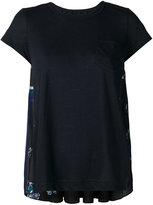 Sacai floral insert T-shirt - women - Linen/Flax/Polyester - 2