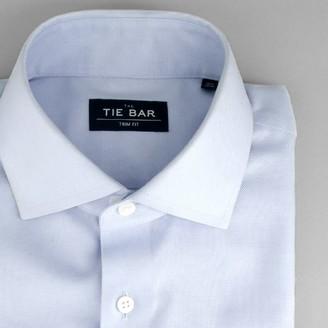Tie Bar Textured Solid Light Blue Non-Iron Dress Shirt