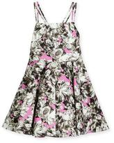 Milly Minis Double-Strap Stretch Jersey Peony Dress, Pink, Size 8-14