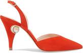 Nicholas Kirkwood Penelope Embellished Suede Slingback Pumps - Tomato red