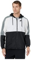 Nike NSW Jacket Hooded Woven Color Block (Black/White/Smoke Grey/Black) Men's Clothing