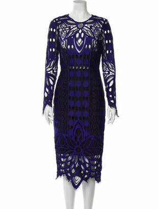 Thurley Lace Pattern Midi Length Dress w/ Tags Blue
