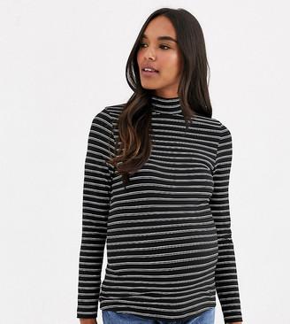 ASOS DESIGN Maternity turtle neck long sleeve top in stripe