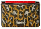 Christian Louboutin Vanite Sequined Leopard-Print Clutch Bag, Gold/Black/Silver