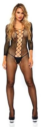 Leg Avenue Women's Seamless Net Faux Lace up Long Sleeve Bodystocking, Black, O/S
