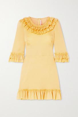 The Vampire's Wife Ruffled Hammered Silk-blend Satin Mini Dress - Yellow