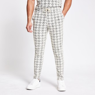 River Island Mens Ecru dogtooth check textured slim fit joggers