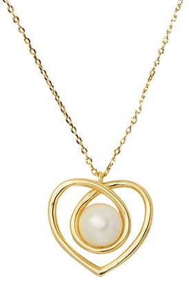 Kate Spade Infinite Hearts Glass Pearl Goldtone Pendant Necklace