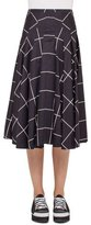 Akris Punto Windowpane A-Line Midi Skirt, Black/Cream