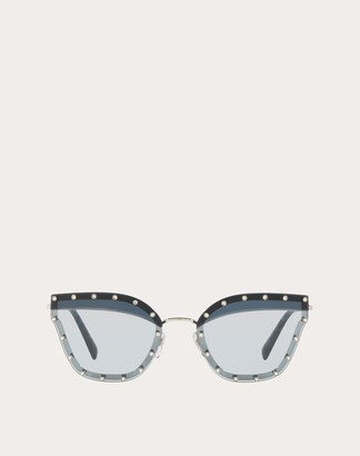 Valentino Crystal Studded Cat-eye Metal Sunglasses Women Black Metal 100% OneSize