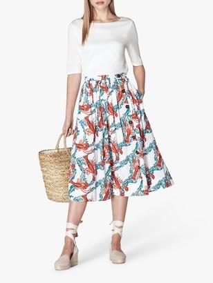 LK Bennett Agatha Lobster Print Midi Skirt, White/Multi