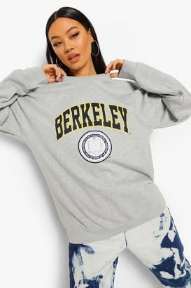 boohoo Berkeley License Print Oversized Sweatshirt