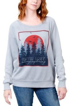 Rebellious One Juniors' Never Lost Always Exploring Graphic Sweatshirt