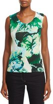 Escada Scoop-Neck Leaf-Print Tank, Multi/Green