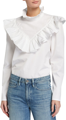 Lafayette 148 New York Ashlyn Italian Sculpted Cotton Ruffle Blouse