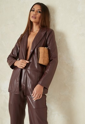 Missguided Chocolate Co Ord Faux Leather Tailored Boyfriend Blazer