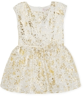 Halabaloo Embroidered Foil Drop Waist Dress