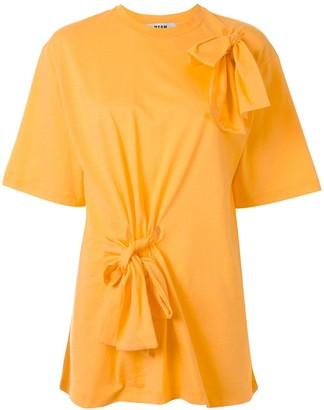 MSGM oversized bow-embellished T-shirt