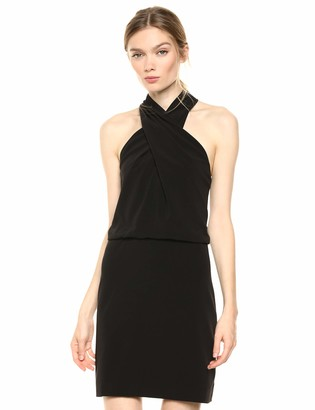 Halston Women's Sleeveless Wrap-Neck Fitted Dress