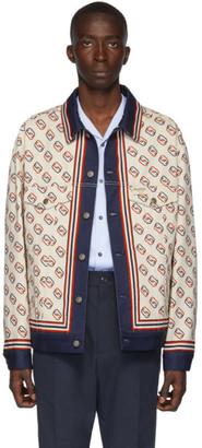 Gucci White Denim Oversized GG Print Jacket