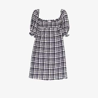 Solid & Striped Womens Blue Puckered Gingham Babydoll Dress