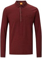 Hugo Boss Boss Orange Patcherman Long Sleeve Polo Shirt, Medium Red
