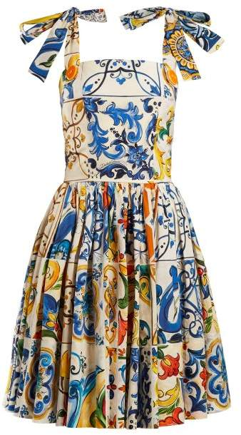 Dolce & Gabbana Majolica Print Cotton Poplin Mini Dress - Womens - White Print