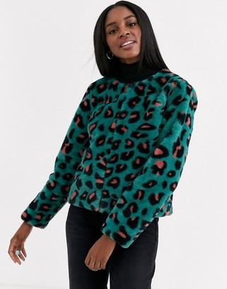 Brave Soul fliss leopard faux fur coat