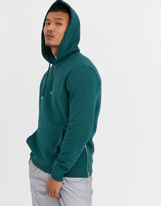 Asos Design DESIGN hoodie in teal green with gold side zips