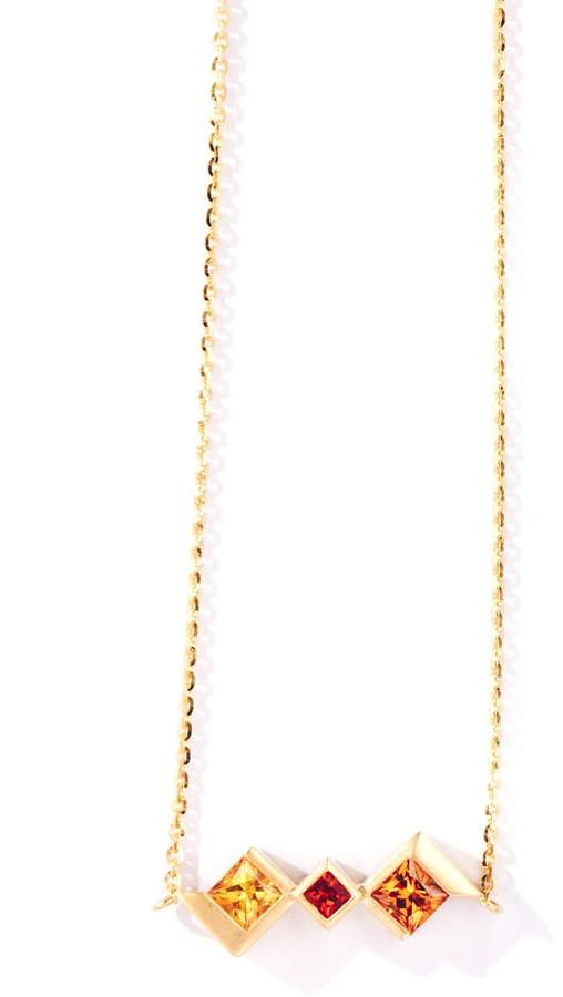 Paradeisos Jewellery Utopia Natural Fancy Sapphire 18K Yellow Gold Stacking  Necklace