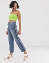 Asos Design DESIGN Recycled Florence authentic straight leg jeans in aged vintage wash with side zip detail