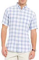Daniel Cremieux Plaid Linen Short-Sleeve Woven Shirt