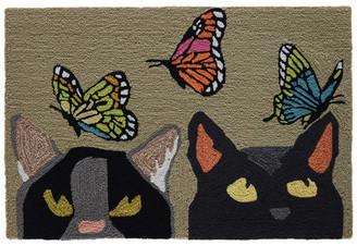 """Liora Manné Frontporch Cats & Butterflies Indoor/Outdoor Rug Mint 24""""x"""