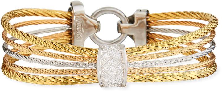 Alor Classique Multi-Strand Cable Bracelet w/ Diamond Pavé, Tricolor