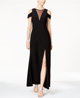 Night Way Nightway Petite Illusion Cold-Shoulder Gown