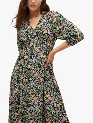 MANGO Tangerin Floral Midi Dress, Green/Multi