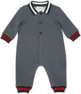Gucci Web Detail Cotton Fleece Romper