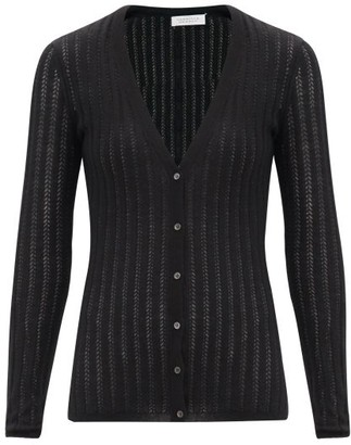 Gabriela Hearst Homer V-neck Cashmere-blend Pointelle Cardigan - Black