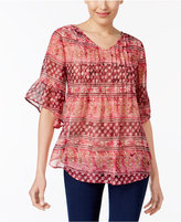 Style&Co. Style & Co Petite Printed Pleated Blouse, Only at Macy's