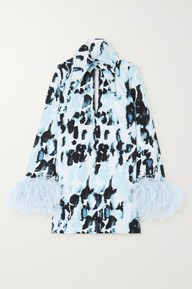 16Arlington Michelle Cutout Feather-trimmed Printed Cady Mini Dress - Blue