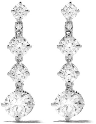 De Beers 18kt white gold Arpeggia one-line diamond earrings