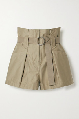 IRO Bordina Belted Pleated Cotton-twill Shorts - Army green
