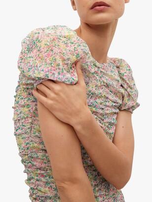 MANGO Floral Print Ruched Mini Dress, Pastel Pink