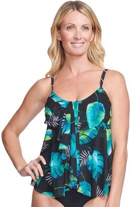 Mazu Swim Women's Mazu Leaf Print Swim Draped Tier Tankini Swim Top with Tummy Slimmer