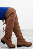 Pink Boutique Fanfare Mocha Suede Effect Flat Over The Knee Boots