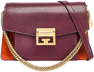 Givenchy Small Leather & Suede GV3 in Burgundy & Red | FWRD