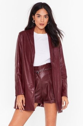 Nasty Gal Womens A Lesson Faux Leather Learned Blazer - Maroon