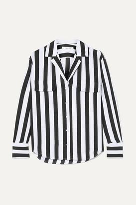 Frame Striped Washed-silk Shirt - Black